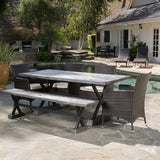 Outdoor 6 Piece Lightweight Concrete Dining Set with Bench - NH119592