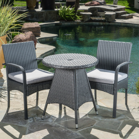 Outdoor 3 Piece Grey Wicker Bistro Set with Cushions - NH502003