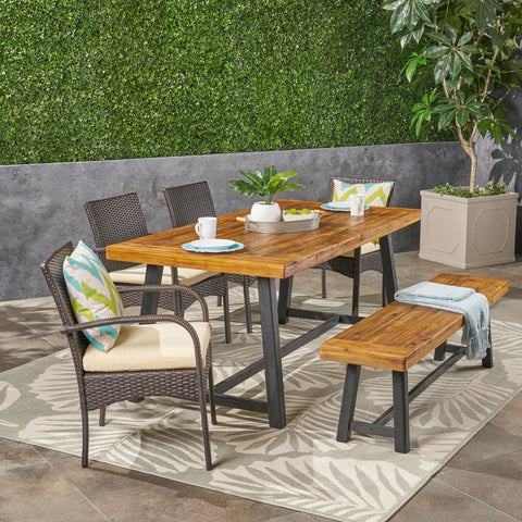 Outdoor 6 Piece Dining Set with Stacking Wicker Chairs and Bench, Sandblast Teak and Black and Multi Brown - NH942603
