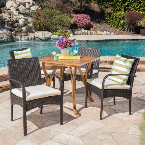 Outdoor 5 Piece Acacia Wood/ Wicker Dining Set with Cushions, Teak Finish and Multibrown with Crème - NH803403
