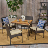 Outdoor Industrial Wood and Wicker 5 Piece Square Dining Set, Teak and Multi Brown and Crème - NH764503