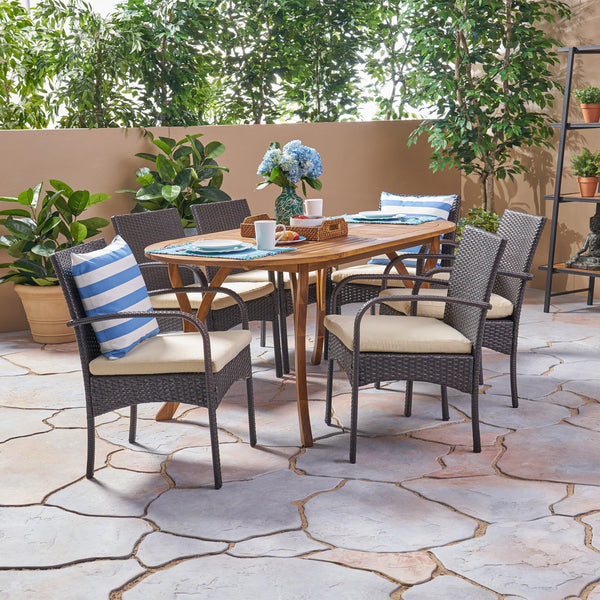 Outdoor 7 Piece Acacia Wood and Wicker Dining Set, Teak with Multi Brown Chairs - NH720503