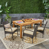 Outdoor 7 Piece Wood and Wicker Expandable Dining Set - NH154503