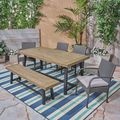 Outdoor 6 Piece Dining Set with Wicker Chairs and Bench - NH842603