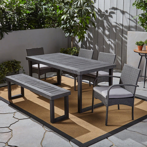 Outdoor 6-Seater Wood and Wicker Chair and Bench Dining Set - NH319503
