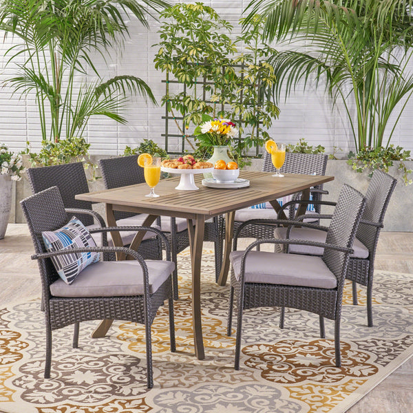 Outdoor 7 Piece Wood and Wicker Dining Set, Gray and Gray - NH521503