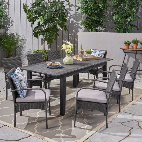 Outdoor 9 Piece Wood and Wicker Expandable Dining Set - NH264503