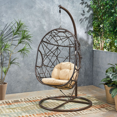 Indoor/Outdoor Wicker Hanging Teardrop / Egg Chair (Stand Not Included) - NH395213