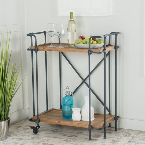Antique Finish Firwood and Iron Coffee Cart - NH248992