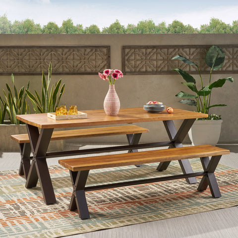 Outdoor 3-piece Acacia Wood Dining Set - NH431692