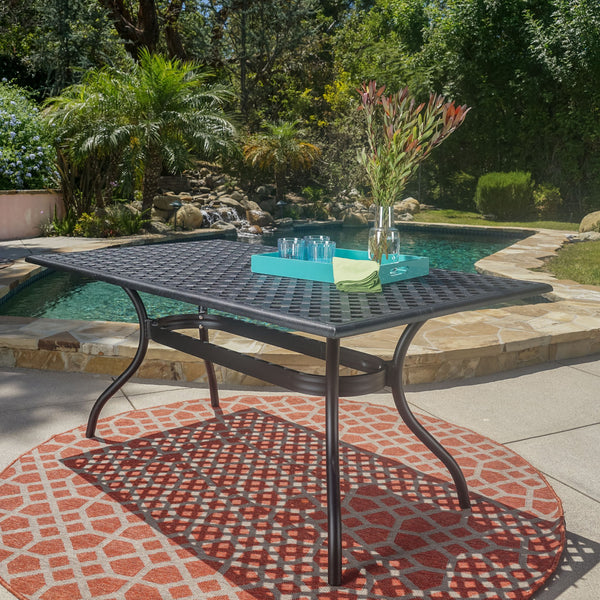 Black Sand Cast Aluminum Rectangle Table - NH215692