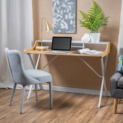 Modern White and Oak Computer Desk with Storage Space - NH426692