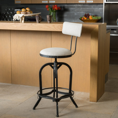 Adjustable Fabric Off-White Swivel Barstool w/ Backrest - NH729692