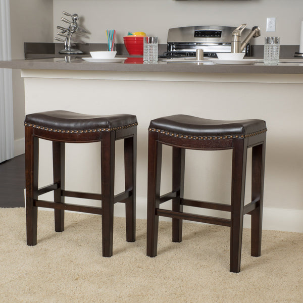 26-Inch Leather Backless Counter Stools w/ Nailhead Accent (Set of 2) - NH084732