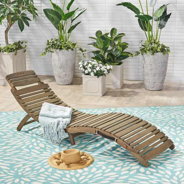 Outdoor Gray Acacia Wood Foldable Chaise Lounge - NH650503