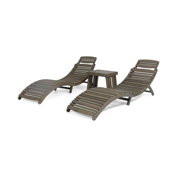 Outdoor Acacia Wood 3 Piece Chaise Lounge Set - NH847213