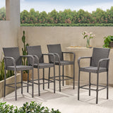 Outdoor Coastal Wicker Backed Barstools with Arms (Set of 2) - NH402103