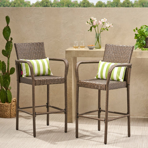 30-Inch Outdoor Mix Mocha Wicker Barstool - NH073003
