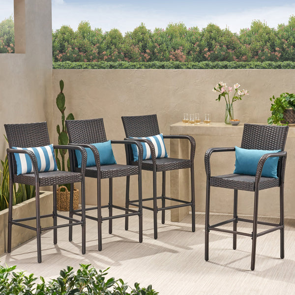 30-Inch Outdoor Brown Wicker Barstool (Set of 4) - NH749592