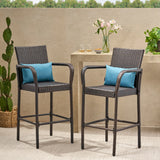 30-Inch Outdoor Brown Wicker Barstool (Set of 2) - NH649592