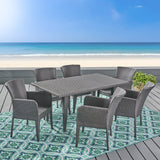 Outdoor 7 Piece Wicker Dining Set, Grey - NH125403
