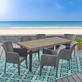Outdoor 7 Piece Wicker Dining Set, Grey - NH225403