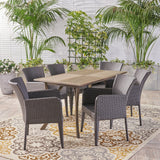 Outdoor 7 Piece Wood and Wicker Dining Set, Gray with Gray Chairs - NH010503