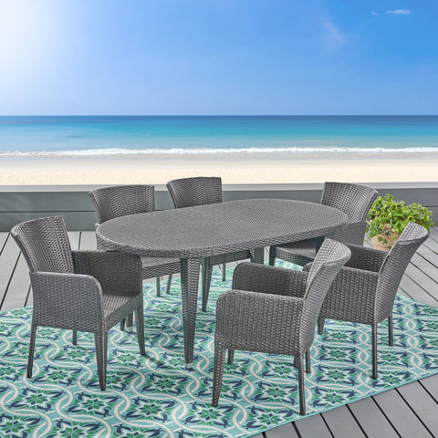 Outdoor 7 Piece Wicker Dining Set, Grey - NH325403