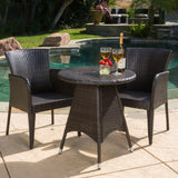 Outdoor Contemporary Multi-Brown Round 3pc Bistro Set - NH012692