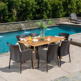 Outdoor 7-Piece Multi-Brown Wicker Dining Set with Teak Acacia Wood Table - NH634892