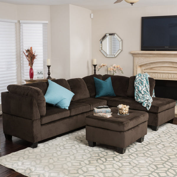 Contemporary Tufted Chocolate Brown Fabric Sectional Sofa Set - NH513692