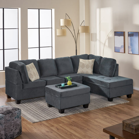 3-piece Charcoal Fabric Sectional Sofa Set - NH413692