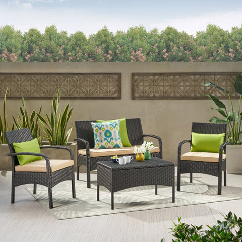 Outdoor 4-Piece Multi Brown Wicker Chat Set - NH473692