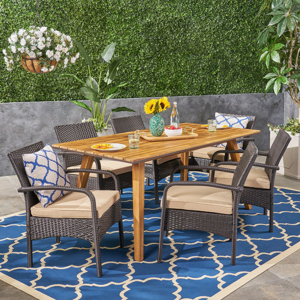 Outdoor 7 Piece Acacia Wood Dining Set with Wicker Chairs, Teak and Brown and Tan - NH162603