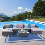 Outdoor 5 Seater Wicker Sectional Sofa Set with Cushions - NH357403