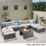 Outdoor 5 Seater U Shaped Wicker Sectional Sofa Set with Ottomans - NH569903
