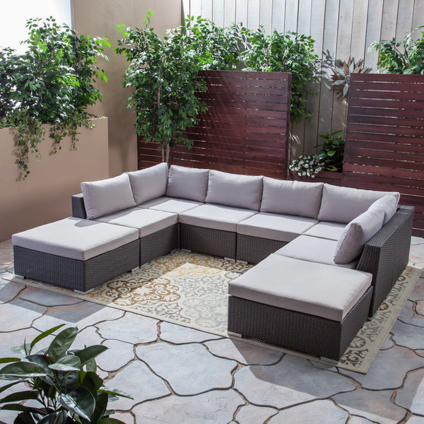 Outdoor 6 Seater Wicker Sofa Set with Aluminum Frame and Cushions, Grey and Silver - NH033403