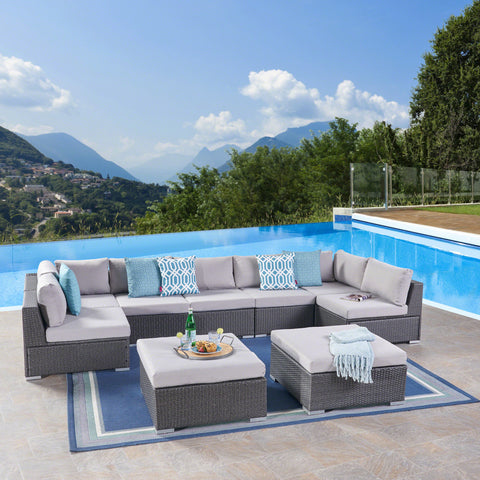 Outdoor 7 Seater Wicker Sectional Sofa Set with Cushions - NH157403