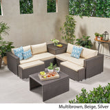 Outdoor 4 Seater V Shaped Storage Sectional Sofa Set with Ottomans - NH169903