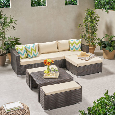 Outdoor 5 Seater L Shaped Wicker Sofa and Ottoman Set - NH759903