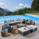 Outdoor 6 Seater Wicker Sectional with Aluminum Frame - NH707503