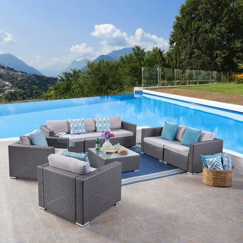 Outdoor 7 Seater Wicker Sofa Chat Set with Aluminum Frame and Cushions - NH333403