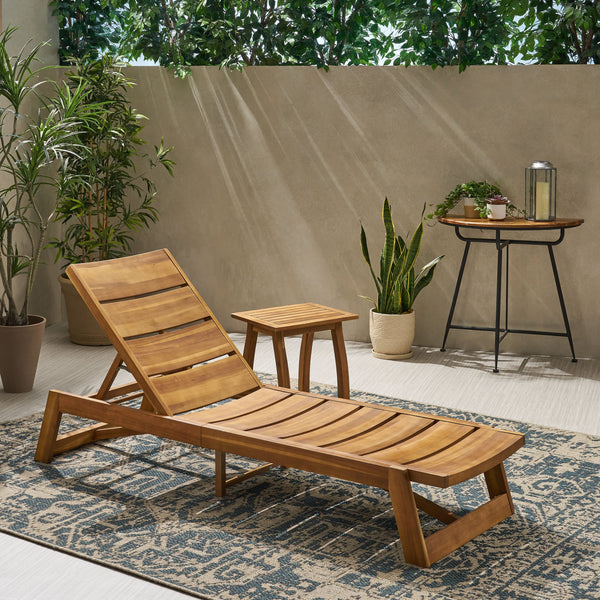 Outdoor Acacia Wood Chaise 2 Piece Lounge - NH162013