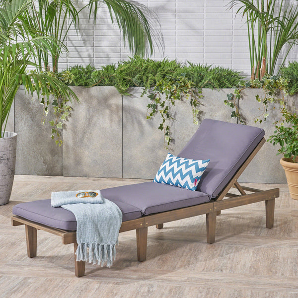 Outdoor Acacia Wood Chaise Lounge with Cushion, Gray and Dark Gray - NH673403