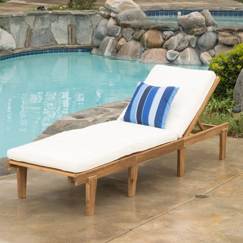 Outdoor Teak Brown Wood Chaise Lounge with Cushion - NH085692