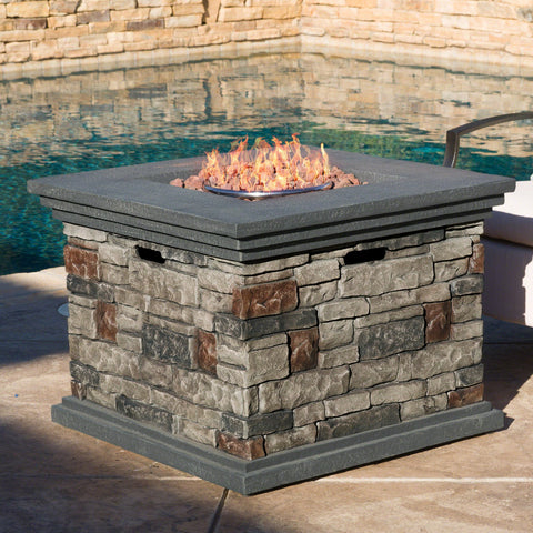 Outdoor Square Liquid Propane Fire Pit with Lava Rocks - NH785692