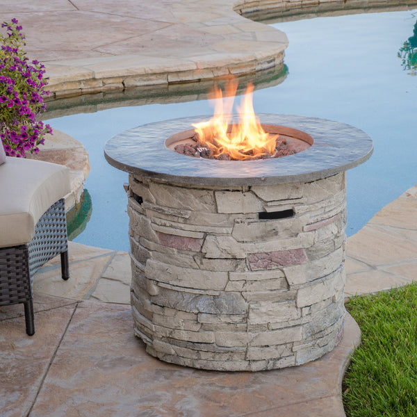32-inch Stone Circular MGO Fire Pit With Grey Top - 40,000 BTU - NH956692