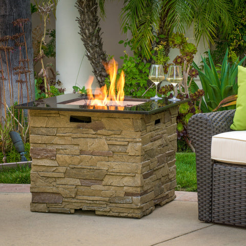 32-inch Stone Square MGO Fire Pit - 40,000 BTU - NH166692