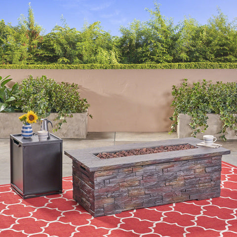 Outdoor Light Weight Rectangular Fire Pit, Natural Stone - NH714503