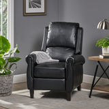 Black Leather Recliner Club Chair - NH795692
